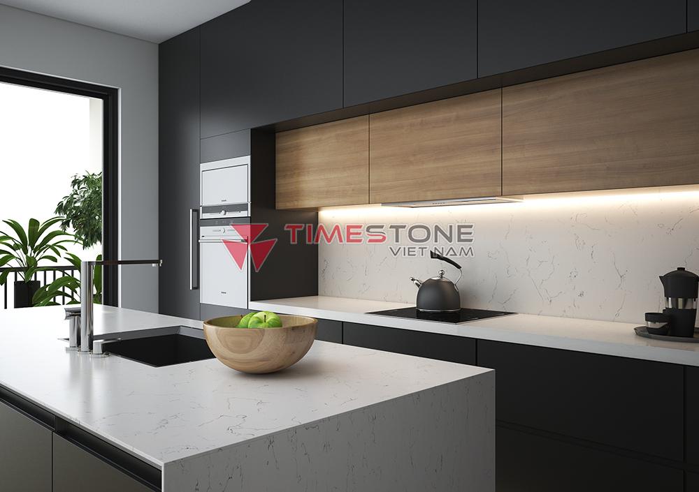 Các thiết kế mới bằng đá nhân tạo hoàn toàn có thể uốn cong, lượn sóng, phối màu đa dạng và đẹp mắt theo ý muốn của gia chủ