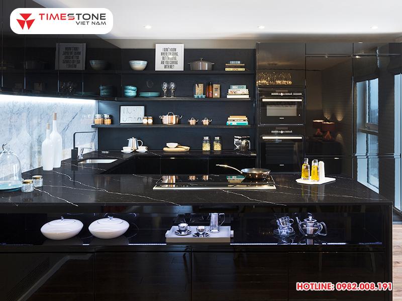 Kim cương đen của căn bếp - Đá nhân tạo gốc thạch anh PQ120 timestone.vn