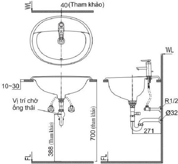 Lavabo âm bàn nên được lắp đặt như thế nào?