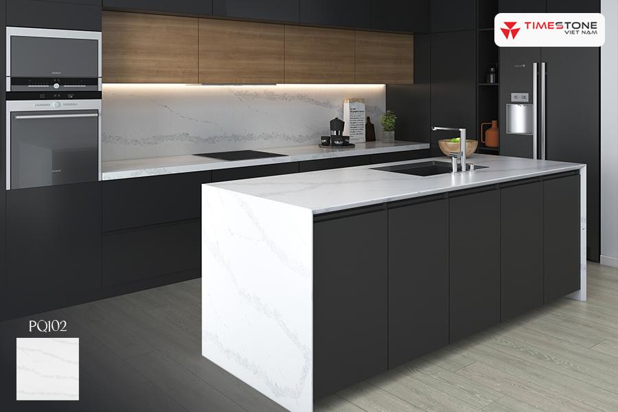 Đá nhân tạo gốc thạch anh PQ102 vẻ đẹp huyền bí cho căn bếp timestone.vn