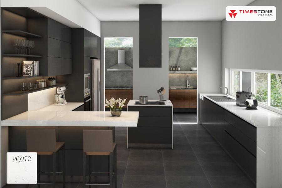 Đá nhân tạo gốc thạch anh trắng: Bừng sáng không gian bếp timestone.vn